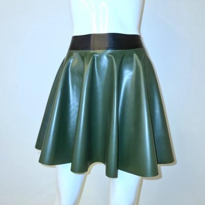 Latexová kolová dámská sukně - olivově zelená