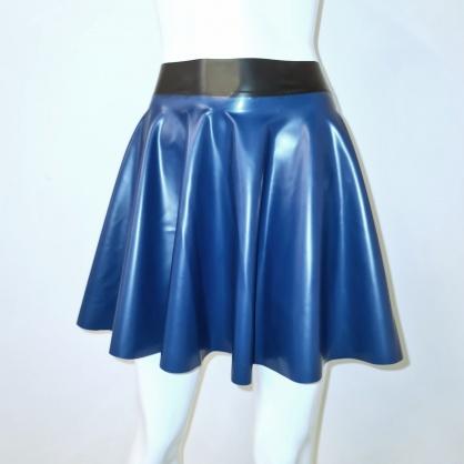 Latexová kolová dámská sukně - petrolejově modrá