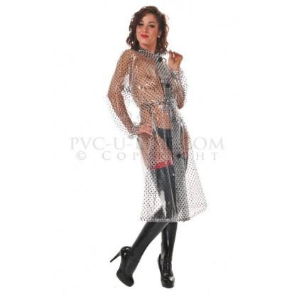 PVC dámský retro kabát PRŮHLEDNÝ S ČERNÝMI PUNTÍKY