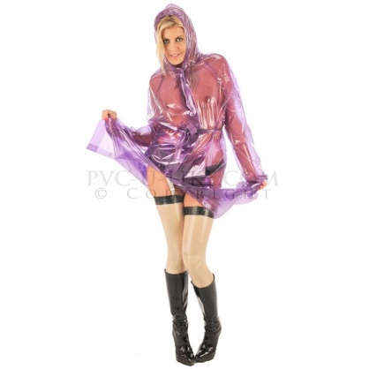PVC dlouhý kabát s kapucí VIOLET GLASS-CLEAR