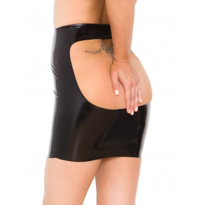 Latexová sukně na výprask s odhaleným zadečkem