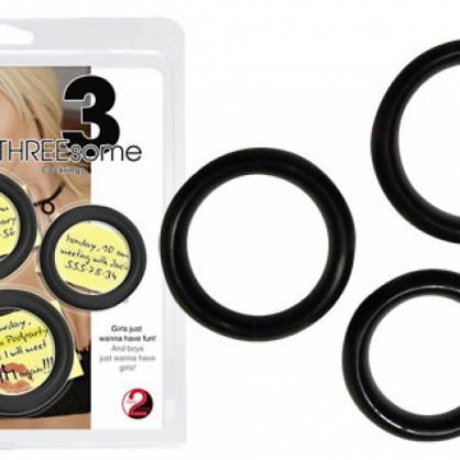 Tři erekční kroužky na penis v barvě černé