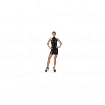 Latexové dámské šaty se stojáčkem bez rukávů