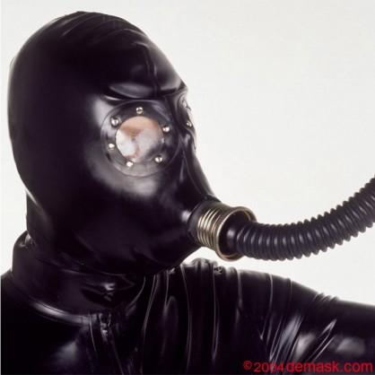 Latexová maska se závitem a zadním zipem