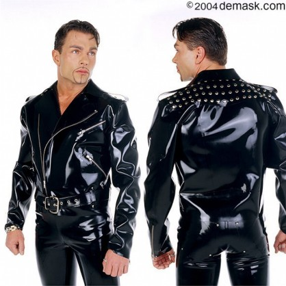 Latexová pánská motorkářská bunda s nýty (křivák)