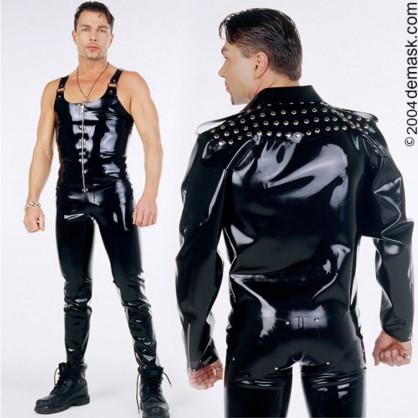 Latexové džíny pro motorkáře s cvočky na zadní části