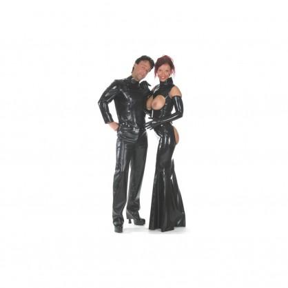Latexová bunda pánská černá s předním šikmím zapínáním