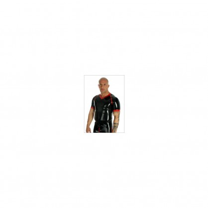 Latexové pánské triko v barvě černé s červeným lemováním.