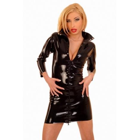 Latexové šaty s tříčtvrtečním rukávem a předním zipem