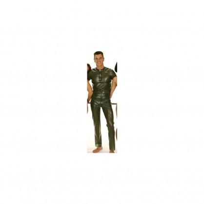 Latexové černé pánské triko s předním zapínáním