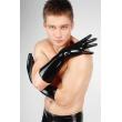 Latexové máčené černé střední rukavice