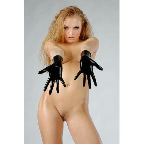 Latexové krátké červené rukavice
