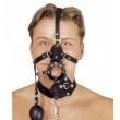 Kožený černý postroj na hlavu se dvěma roubíky