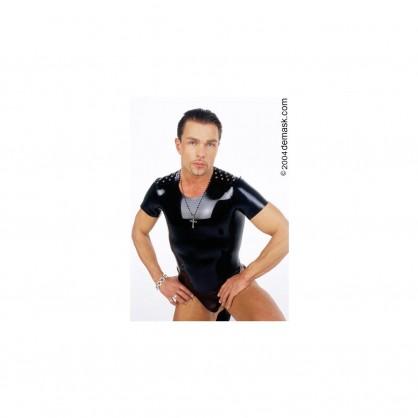 Černé latexové pánské triko se cvočkami