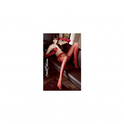 Červené síťové punčocháče s odhaleným rozkrokem a zadečkem