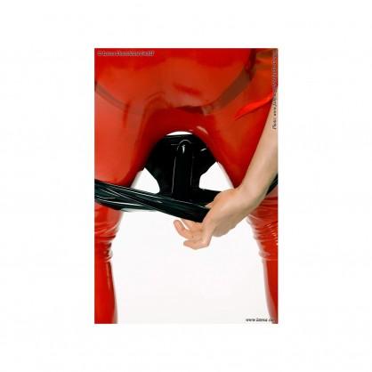 Latexové černé slipy s análním hladkým kondomem