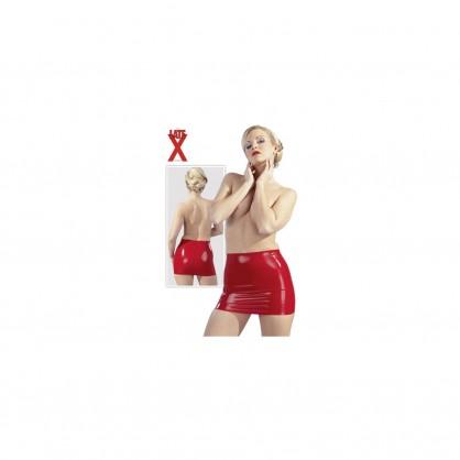 Latexová sukně jednoduchého střihu v červené barvě