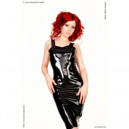 Latexové šaty s širokými ramínky a se zadním zipem