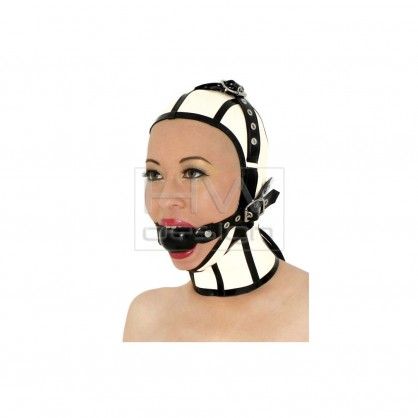 Latexová maska s otevřeným obličejem a roubíkem