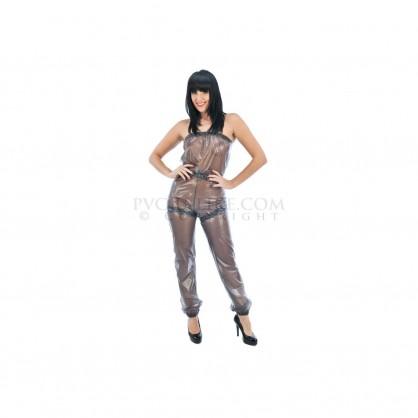 PVC dámský catsuit bez ramínek s elastickým pasem a nohavicemi