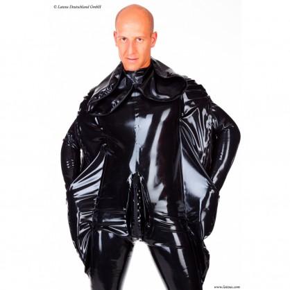 Latexový catsuit s netopýřími rukavy 3-cestným zipem a připojenou maskou