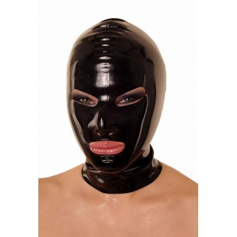 Latexová maska černá se zúženýma očima a zadním zipem
