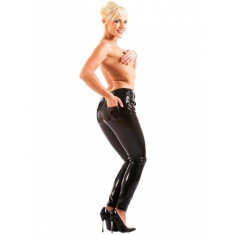 Černé lakové džíny s kapsami a s klasickým zapínáním