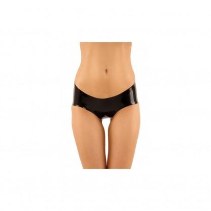 Černé latexové kalhotky se zadním  šněrováním