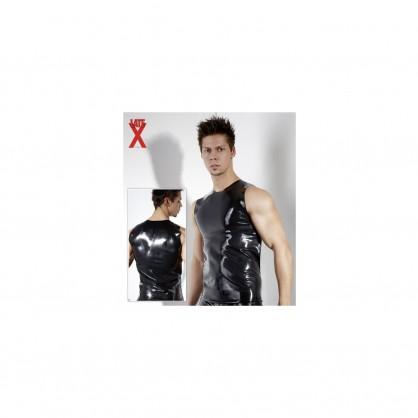 Latexové černé pánské triko s malým kulatým výstřihem