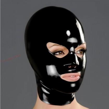 Černá latexová maska s protaženýma očima