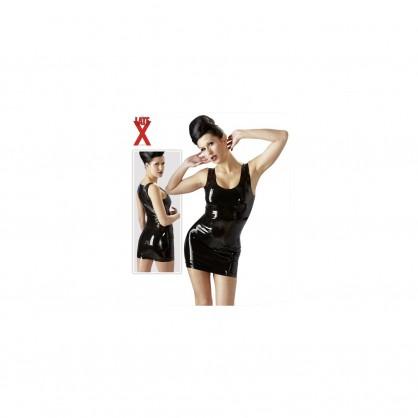 Latexové šaty Laura s hlubokým výstřihem v černé barvě
