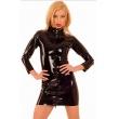 Černé latexové šaty s tříčtvrtečním rukávem a předním zipem