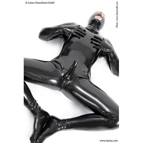 Latexový catsuit  s maskou se všemi otvory a kondomem
