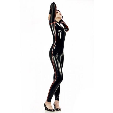 Dámský černý latexový catsuit s červenými proužky