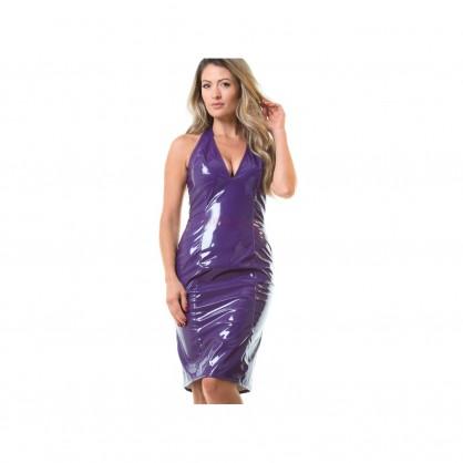 Černé nebo Fialové lakové přiléhavé šaty s hlubokým výstřihem