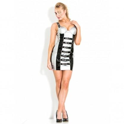 Lakové dámské šaty s přezkami v černo stříbrné barvě