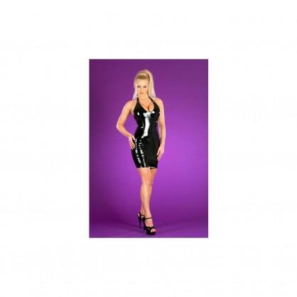 Lakové dámské šaty s ramínky vedoucí za krk