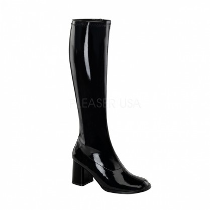 Černé lakové kozačky pod kolena na nízkém podpatku