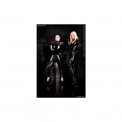 Latexové černé dámské nafukovací kalhoty s předním zipem