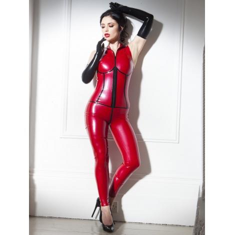 Červený dámský catsuit na ramínka s černým proužkem