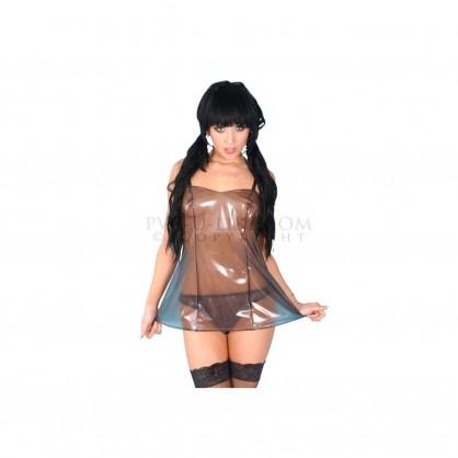 PVC dámská košilka v barvě černé transparentní