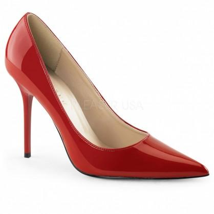 Červené dámské lakové klasické lodičky na vysokém podpatku