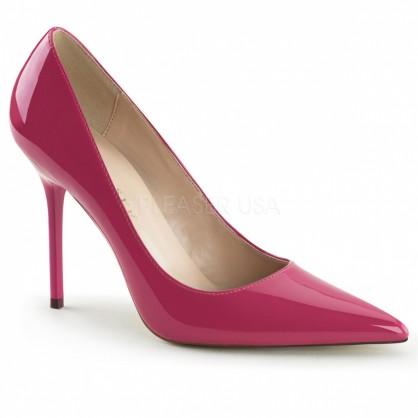 Růžové dámské lakové klasické lodičky na vysokém podpatku