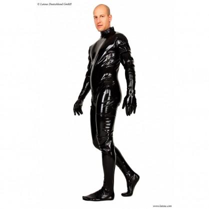 Latexový catsuit se zipem v rozkroku s připojenými rukavicemi