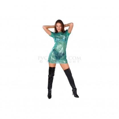 PVC modré šaty dámské se zadním zapínáním