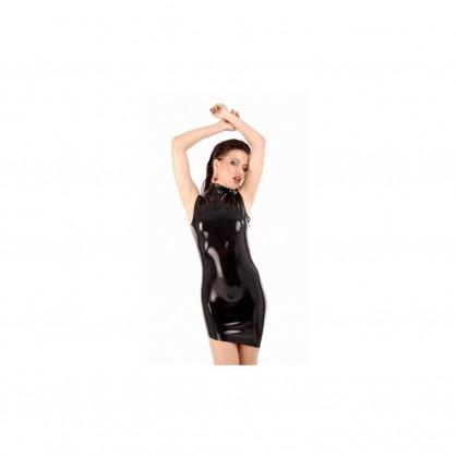 Latexové černé šaty bez rukávů s šikmým lemem a zadním zipem