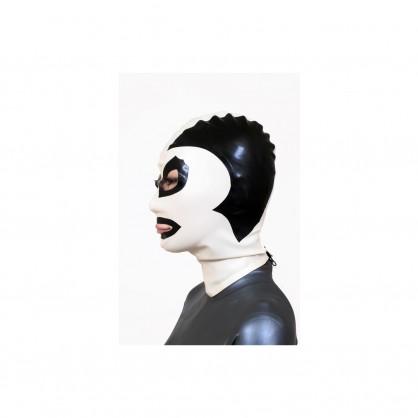 Černá latexová maska s kontrastním obličejem v barvě bílé