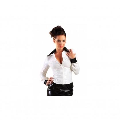 Bílá laková dámská košile s límečkem a manžetami