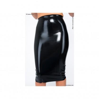 Latexová dámská sukně pod kolena -11