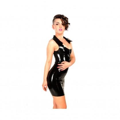 Černé latexové šaty s límečkem a předním zapínáním
